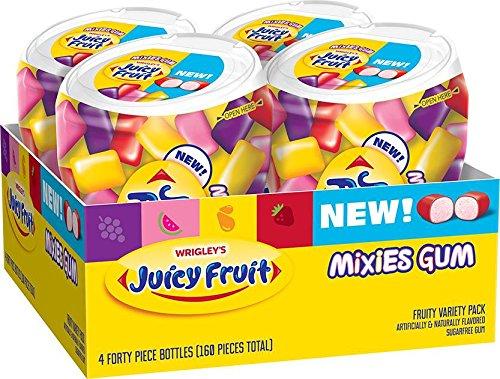Juicy Fruit Gum Mixies Fruity Chews Sugarfree Bottle, 40 Count (Pack of 4) by Juicy Fruit Gum