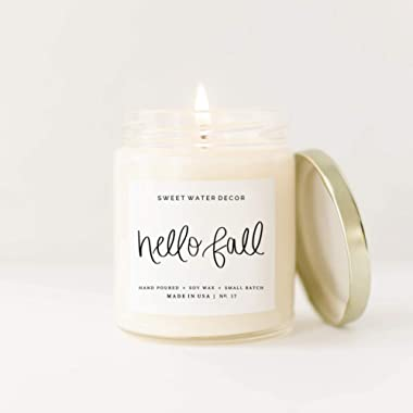Hello Fall Candle Soy Wax Glass Jar Tin Lid Scented Autumn Apple Cinnamon Nutmeg Cloves Hot Cider Crisp Air Farmhouse Decor Bathroom Accessories Home Made in USA Lead Free Cotton Wick PSL Leaves