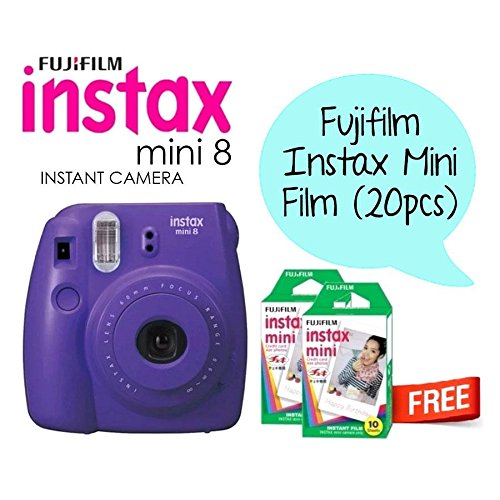Fujifilm Instax Mini 8 Instant Film Camera include Films for 20 Photos (Electric Purple)