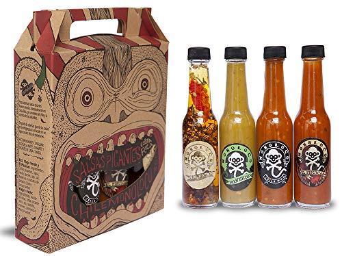 Chile Monoloco Costa Rican Hot Sauce Variety Pack (4 pack), 60ml / 2.02 oz (Kit del Chilero Feliz)