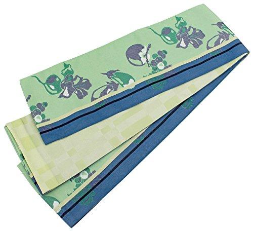 気をつけて大きさディスコ半幅帯 長尺 レディース 野菜 果物柄 淡い緑色 リバーシブル 日本製 N2622