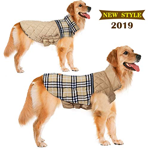 FairyMe Dog Jackets Dog Sweaters Winter Dog Clothes Reversible 2019 Updated Style Waterproof Dogs Cold Weather Coats Warm Dog Vests for Winter Dogs Apparel Down Dog Jackets (S, Beige)