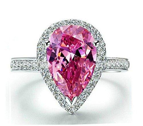 NDG Women's 18k Gold Plated Pear Cut Fancy Pink Tear Drop Ring Small Cz Surrounding (6)