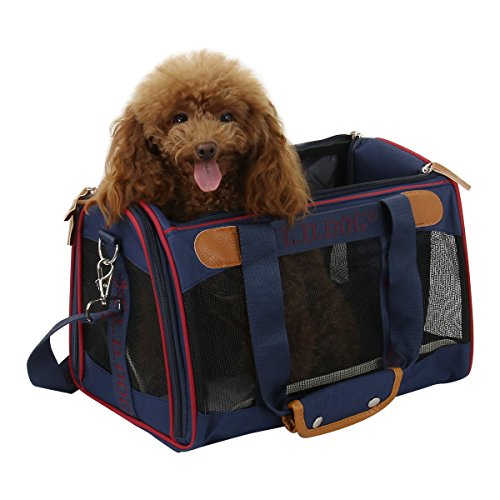 Soft Sided Dog Cat Pets Carrier- Pet Travel Portable Bag for Puppies Breathable Shoulder Bag [Airline-Approved] (Blue)