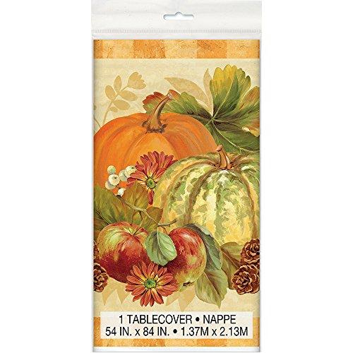 Pumpkin Harvest Fall Plastic Tablecloth, 84