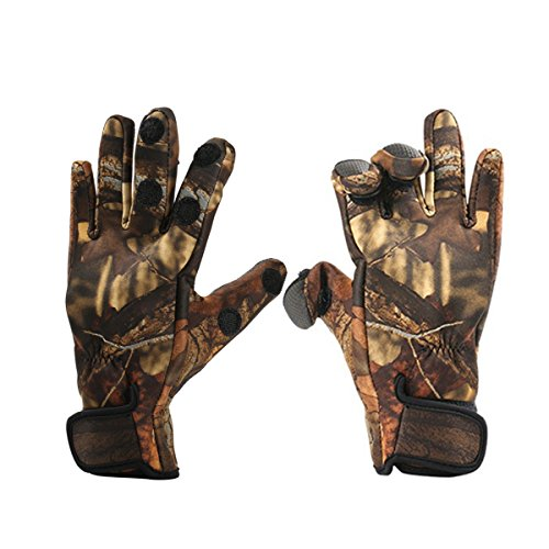Convertible Windproof Gloves - Inf-way Fishing Gloves, Camouflage 3 Cut Fingers Convertible Gloves - Waterproof/Windproof/Skidproof/Breathable/Warm/Touchscreen for Fishing Hunting Hiking Riding Cycling (Camouflage, XL)