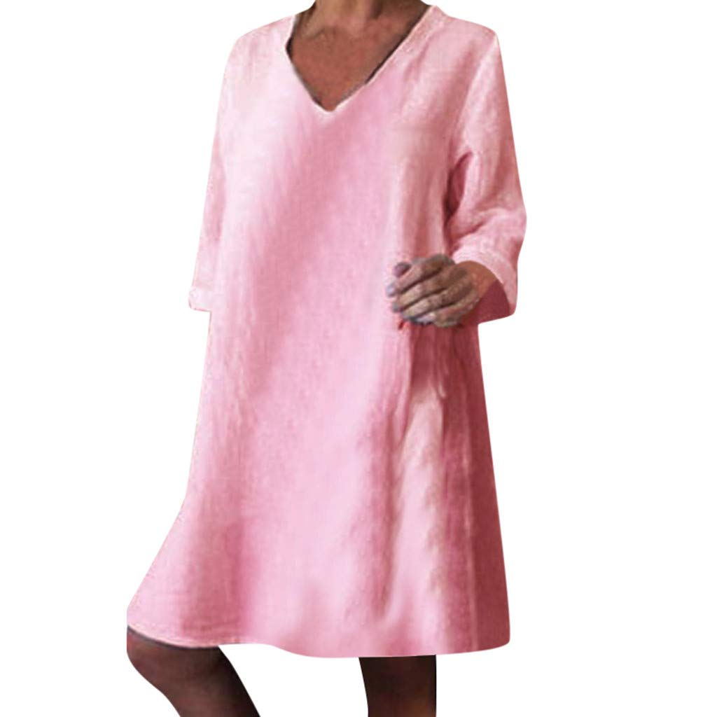 ZOMUSAR Fashion Women's Casual Solid Full Sleeve V-Neck Easy Beach Party Long Dress for Ladies Pink