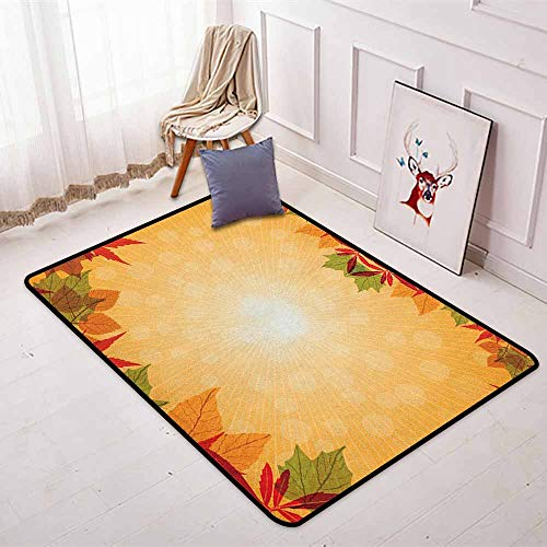 Harvest Better Protection Striped Dotted Background and Vibrant Maple Aspen Oak Leaves Seasonal Nature Kid Game Carpet W31.5 x L59 Inch Red Green Orange