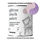 Hemway Candy Floss Chalk Paint (with Lavender Glitter) Sparkle Matt finish Wall and Furniture Paint 1L / 35oz Shabby Chic Vintage Chalky Crystal (25 Glittery Colours Available)