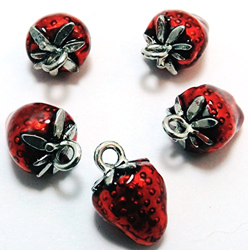 Set of Five (5) Red Enameled Pewter Strawberry Charms ()