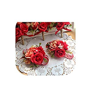 New Wrist Corsage Bridesmaid Sisters Hand Flowers Artificial Bride Flower Wedding Dancing Party Decor Prom,1 PCE Corsage Wrist2 46