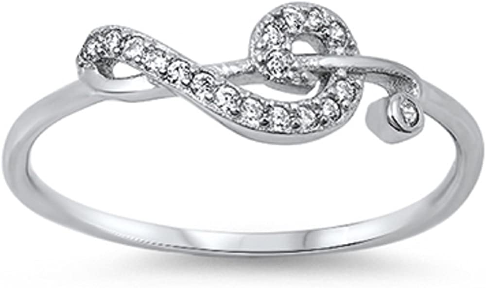 Princess Kylie Clear Cubic Zirconia Sideway Musical Note Ring Sterling Silver Color Options, Sizes 3-15