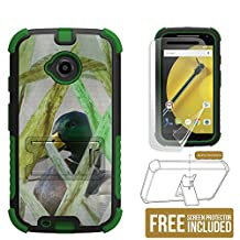 Moto E LTE 2ND GEN Case, XT1527/ XT1511/XT1505, Beyond Cell®[Dirtproof] High Impact Armor Hybrid Hard + Soft Rugged Durable Ultra Strong Phone Case with 3 Layer Maximum Protection & built in kickstand- Hunting Duck -FREE Screen Protector