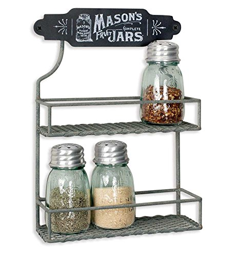 Wire Mason Jar Two Tier Hanging Spice Rack