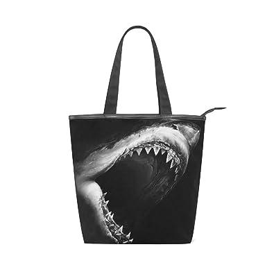 7e1547fb5c Shark Fierce Black Canvas Top Handle Tote Bag Shoulder Bag Handbag ...