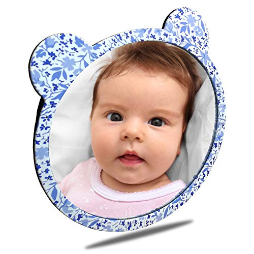 (Facekyo Baby Mirror for Car | Baby Car Mirror | Baby Back Seat Mirror | Super Locking System with China Blue Printing )