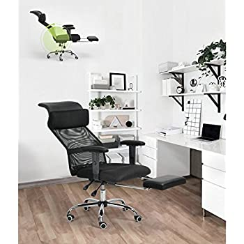 Black Executive Recliner Office Chair Mesh High Back Tilting Function  Adjustable Swivel Home Computer Desk Chair