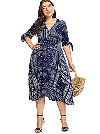 Milumia Plus Size Summer Dress, A Line Empire Waisted Short Sleeves Floral Printed Blue XL