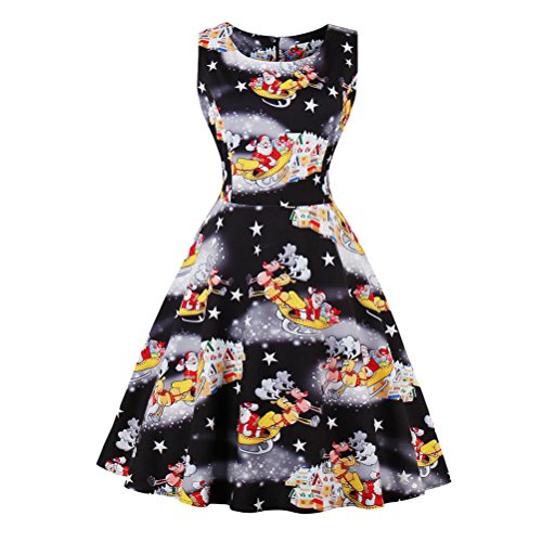 Zhhlaixing Mujer Fashion Design Girls Dress Sleeveless Round Neck Christmas Floral Pattern Dresses for Evening Party Black