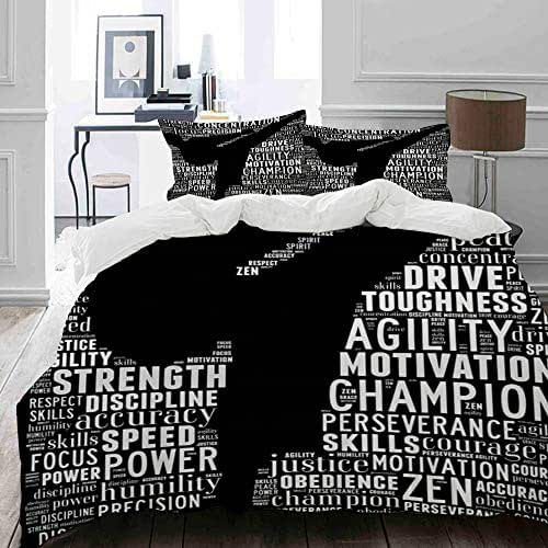 NIKIVIVI Duvet Cover Set Soft Cozy Home Collections for Girls Teen Adults Bedding Sets(King, Style Collage Training Essence Martial Arts Text Graphics Karate Sports Recreation Kickboxing Leadership)