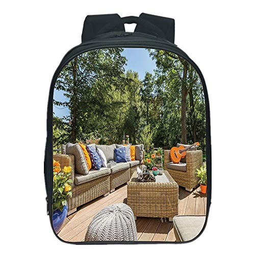 Cheap  iPrint Customizable Kids School Backpack,Patio Decor,Summer Town House Terrace Balcony with Trees..