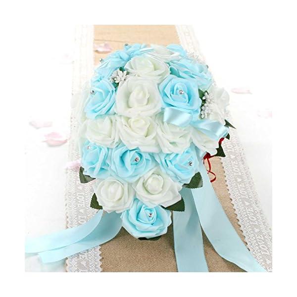 vLoveLife Wedding Bouquet Mix White & Turquoise Blue PE Rose Flowers Bridal Bridesmaid Bouquets Artificial Flower Satin Ribbon Decor Handmade Posy Pearl Rhinestone Plant Leaf Vine Decor