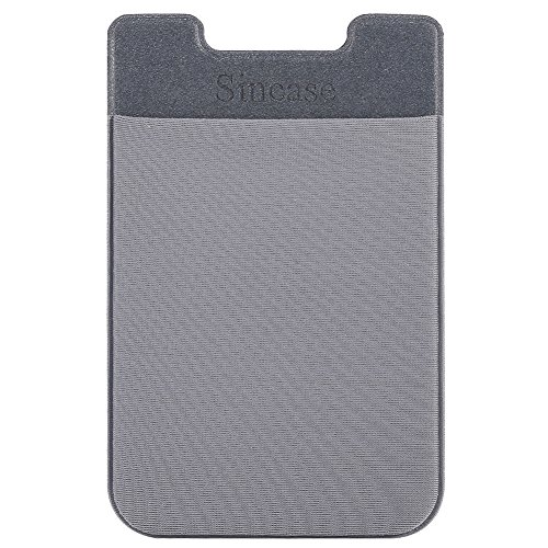 - Sincase Ultra Thin Stretchy Lycra Stick on Card Holder Self Adhesive ID Card Wallet Phone Pocket Sticker for Back of iPhone, Samsung, Most Smartphones & Cases, Gray