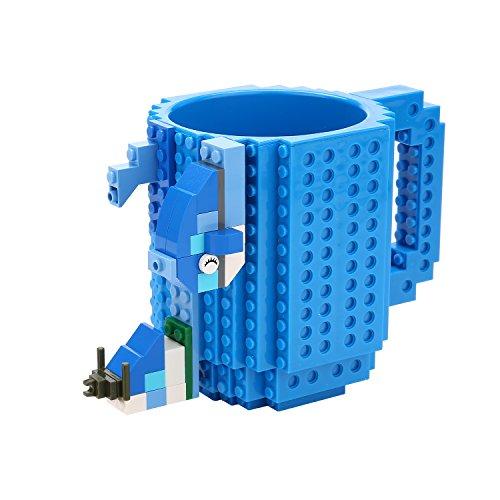 Build-on Brick Mug -Fubarbar 12 oz Coffee Cups Funny Tea Mug Beverage Cup Puzzle Mug Building Bricks enjoy Novelty Creative DIY Building Blocks Office Pen Cups (Blue)