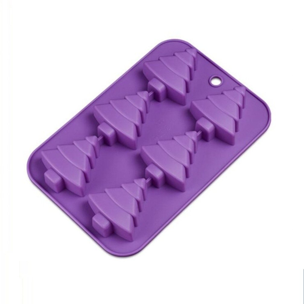 Allforhome 6 Christmas Tree Silicone Cake Baking Mold Cake Pan Handmade Soap Moulds Biscuit Chocolate Ice Cube Tray DIY Mold