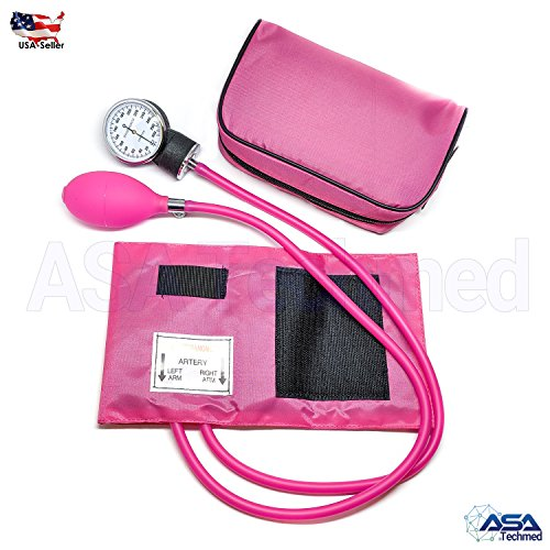 (Manual Blood Pressure Monitor BP Cuff Gauge Aneroid Sphygmomanometer Machine Kit (Pink))