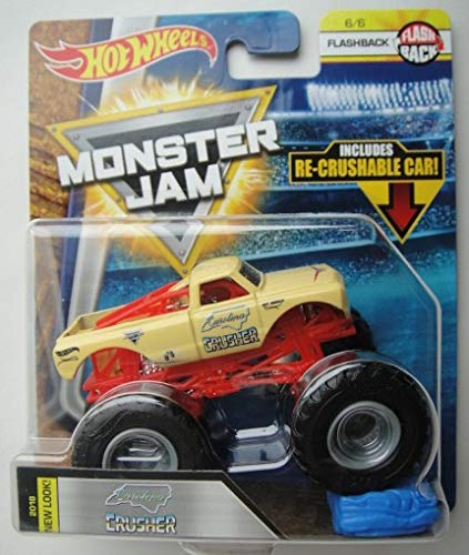 Hot Wheels Monster JAM 1:64 Scale Flashback 6/6, Yellow Carolina Crusher 2018 New Look Includes RE-Crushable CAR