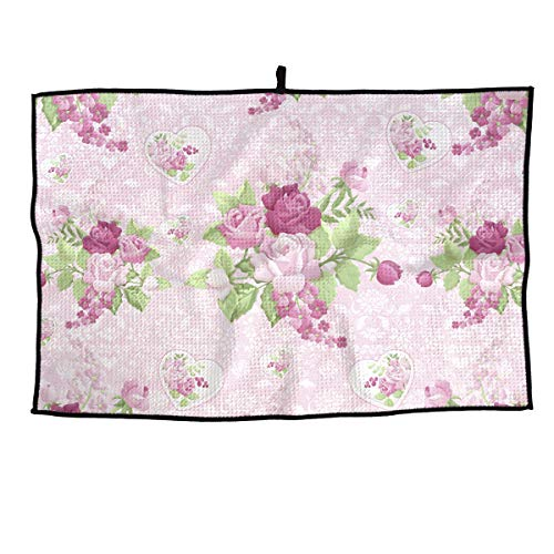 (HFXFM Floral Rose Pattern Grid Microfiber Cooling Golf Towel Light Weight & Quick Drying & Super Absorbent Sport Travel Towel for Activities)