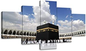 KALAWA Islamic Religion Wall Art Muslim Worship Painting Arabic Religion Activity Posters Religional Artwork Home Wall Decor Prints Pictures 5 Panels for Living Room Framed Ready to Hang