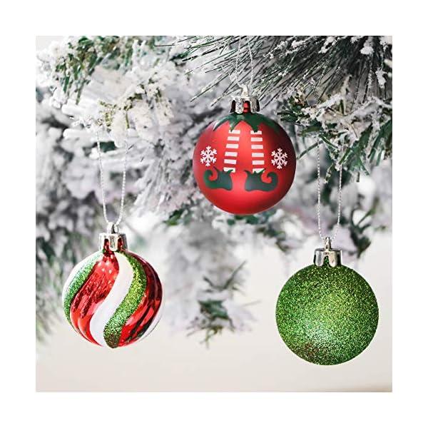 Victor's Workshop Addobbi Natalizi 35 Pezzi 5cm Palle di Natale per Albero, Delizioso Elfo Rosso Verde e Bianco Infrangibile Palla di Natale Ornamenti Decorazione 3 spesavip