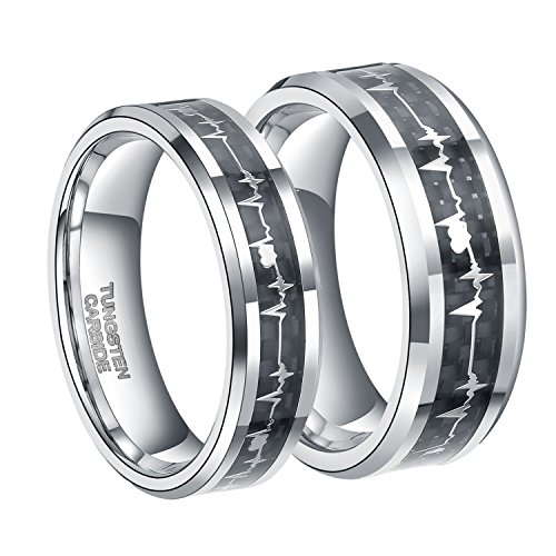 6mm Tungsten Carbide Wedding Ring for Men Women with EKG Heart Beat Carbon Fiber Inlay Silver Wedding Band Size 7 (Silver Matching Rings)