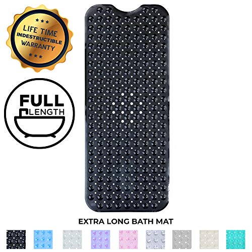 Enkosi Extra Large Long Non Slip Bathroom Bath Mat for Tub and Shower (Black) (Anti Mold Bath Mat)