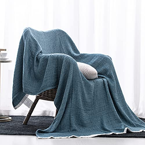 SE SOFTEXLY Cotton Blanket, 3-Layer Soft Breathable Throw Blankets for Couch/Bed, Light Comfortable Thermal Blanket for All Season
