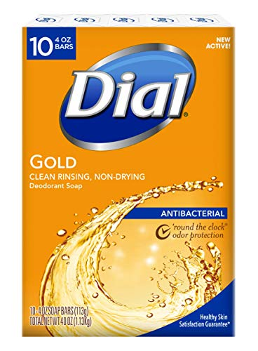 Dial Antibacterial Deodorant Bar Soap, Gold, 4-Ounce Bars, 10 Count (Pack of - Soap Bar Lever Deodorant