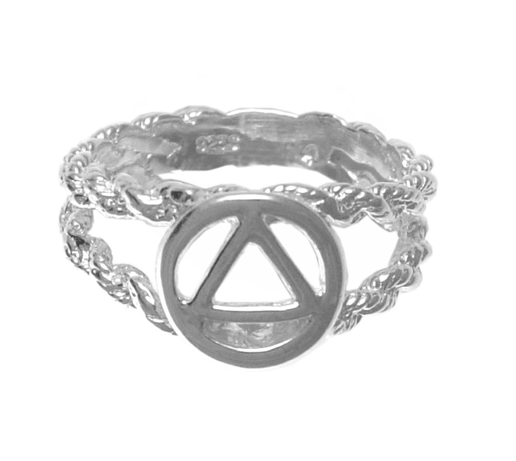 Alcoholics Anonymous Symbol Circle Triangle,Open Rope Style Band, #106, Ster., $25-$30 (9.5) by 12 Step Gold