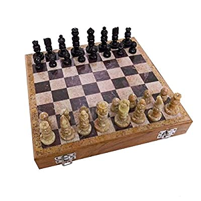 Traditional Style with Handmade Features Carved Soapstone 10-inch Chess Set (India)
