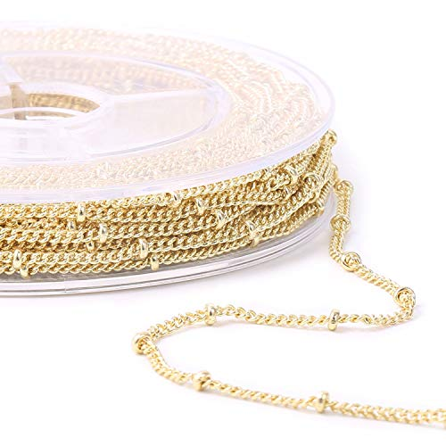 33 Feet Gold Plated Satellite Curb Link Chain Spool with 20 Lobster Clasps and 50 Jump Rings Bulk for Jewelry Making, Size 1.5mm