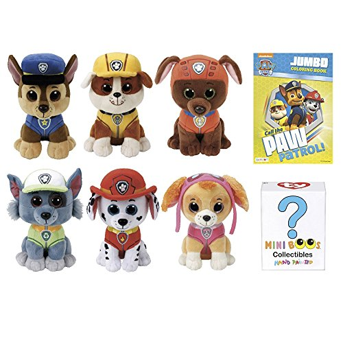 Paw Patrol Stuffed Plush Animals Favor Set of 6 TY Beanie Boos Babies of Chase, Marshall, Rubble, Rocky, Zuma, Skye - Plus 1 Mini Boo Collectible, 1 Coloring Book - Kids Toys - for Boys or Girls (Beanie Baby Dog Set)