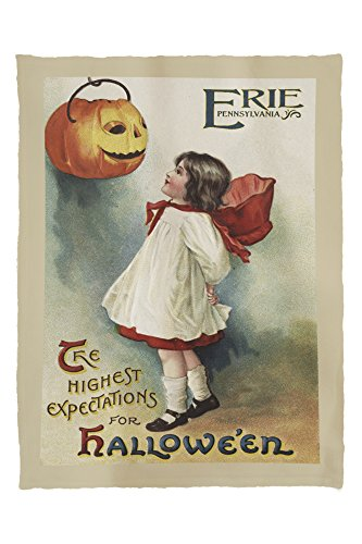 Erie, Pennsylvania - Halloween Greeting - Girl in Red and White - Vintage Artwork (60x80 Poly Fleece Thick Plush - Erie Stores In