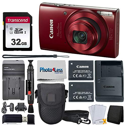 Canon PowerShot ELPH 190 Digital Camera (Red) + Point & Shoot Camera Case + Transcend 32GB SD Memory Card + Extra Battery & Worldwide Travel Charger + Top Value Accessory Bundle!
