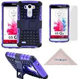 LG G3 Case, [Rugged][Heavy Duty][Shockproof] Dual Layers Hard Soft Hybrid Protective [Armor] Kickstand Case by Wisdompro for LG G3 - Purple / Black