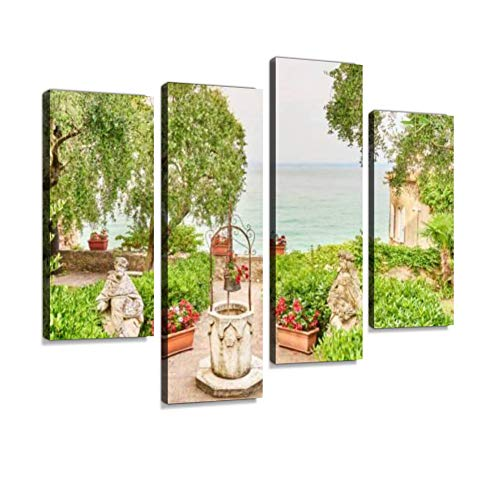 Formal Garden with Statues and Fountain in Sirmione at Lake Garda in Italy Canvas Wall Art Hanging Paintings Modern Artwork Abstract Picture Prints Home Decoration Gift Unique Designed Framed 4 Panel (Fountain Formal Garden Wall)