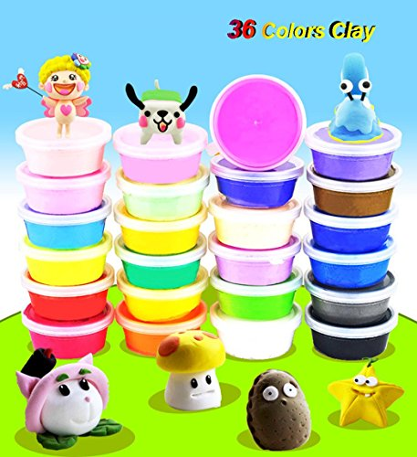 BubbyBear 36 Colors DIY Clay,Kids No-Toxic Ultra Light Modeling Clay Creative and Educational Kids Toys Set(0.7 OZ per Small Box) (Clay Charm)
