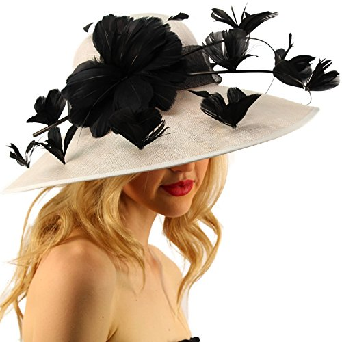 SK Hat shop Demure Dome Sinamy Butterfly Floral Feathers Derby Floppy Dress Wide Hat White/Black by SK Hat shop