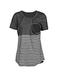 Corsion Women Pregnant Maternity Nursing Stripe Breastfeeding Top T-Shirt Blouse