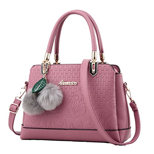 Tote Borsa Pelle Moda in Borse Borse Sentao Messenger Scuro a Mano PU Pink Bag Donna 7Pxqwvf1